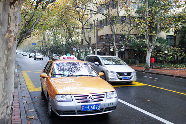 Volkswagen Santana. Taxi in the French Concession of Shanghai
