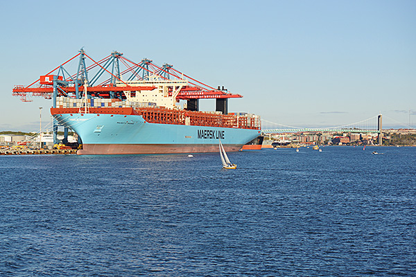 Majestic Maersk in the container port of Gothenburg