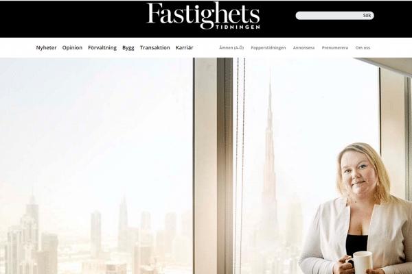Linda Engström-Condon, Executive MBA 2015-17, interviewed in Fastighetstidningen